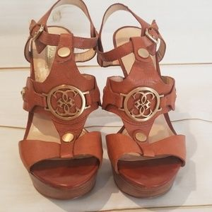 Guess Brown Wood Bottom Heels